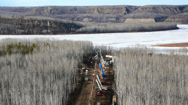 Подземный переход под дном реки, дюкер для прокладки трубопровода, нефтепровода